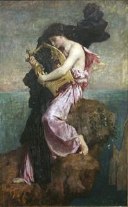 Sappho and her Lyre (Wikipedia Image)