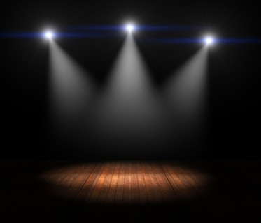 Illustration of Spotlights on empty old wooden stage